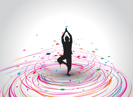 A young woman doing yoga silhouette in rainbow mosaic wave line , illustration   Vector