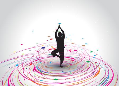 Een jonge vrouw doen yoga silhouet in rainbow mozaïek golf lijn, afbeelding