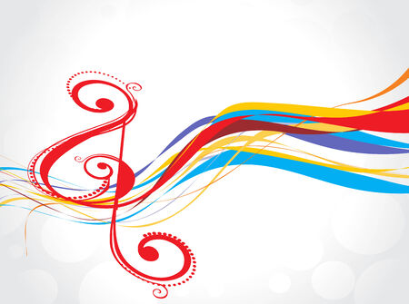 popular: music note with abstract rainbow wave lien background  Illustration