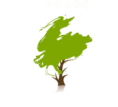huge tree: hand draw green tree on eco background, illustration Illustration