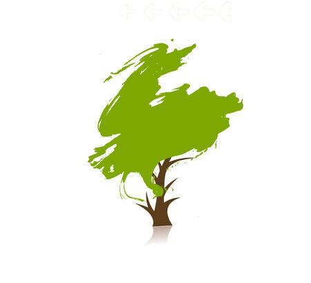 arbol roble: mano dibujar el �rbol verde sobre fondo ecol�gico, ilustraci�n