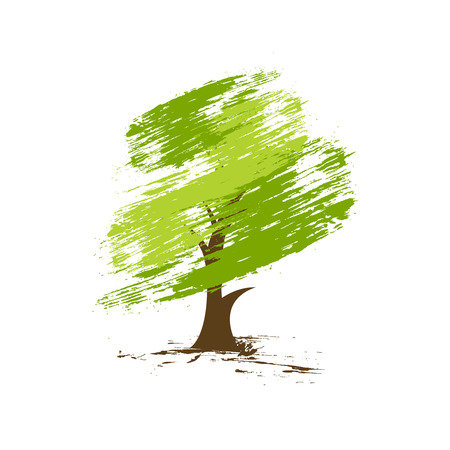 solitary tree: hand draw green tree on eco background, illustration Illustration
