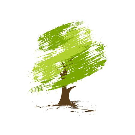 leafy trees: mano dibujar el �rbol verde sobre fondo ecol�gico, ilustraci�n