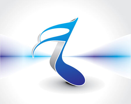 echo: Abstract 3d blue color music notes, illustration Illustration