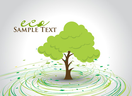 hand draw: hand draw green tree on eco background with space of text