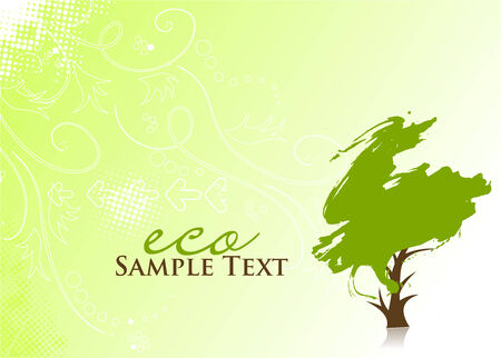 solitary tree: hand draw green tree on eco background