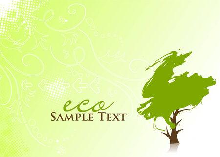arboles frondosos: mano dibujar el �rbol verde sobre fondo ecol�gico  Vectores