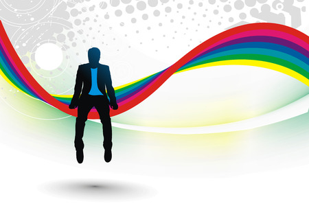 Abstract rainbow wave line background with young boy silhouette.  Vector