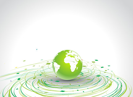 Abstract illustration with circle wave line globe in eco background   Vector