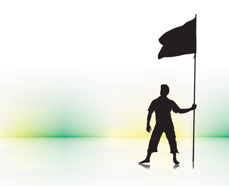 A young man holding a black flag with space of your text Vector