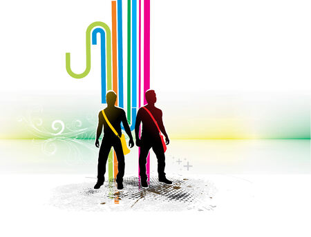 Abstract rainbow wave line background with standing young boy silhouette.  Vector