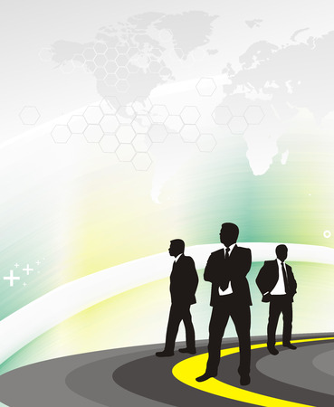 silhouetted a business people on the road, searching a right way in the world Stock Vector - 6474432