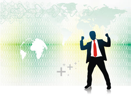 abstract Binary Code  background with a success business man silhouette Vector