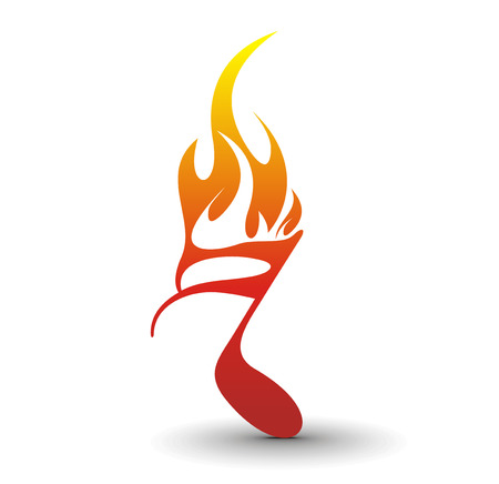 Fire note symbol - used of your music project. Stock Vector - 6474418