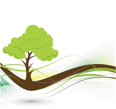 leafy trees: �rbol de vector verde sobre fondo ecol�gico con espacio de su texto, la ilustraci�n vectorial
