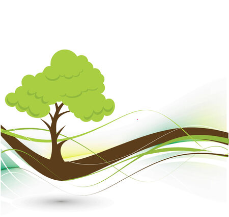 solitary tree: vector green tree on eco background with space of your text, vector illustration