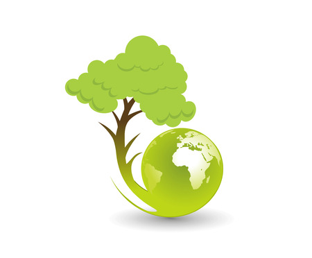 Abstract eco tree illustration with swirl globe, illustration