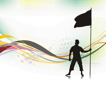 grand prix: A young man holding a black flag with space of your text Illustration