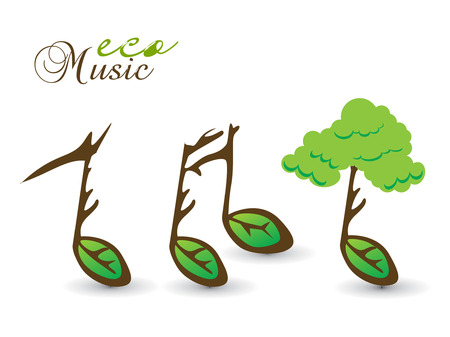 Spring eco card on music note theme