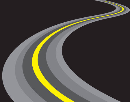 vector road illustration. isolated on black background Vector