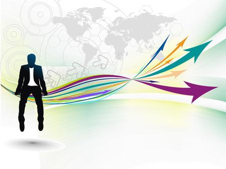 Silhouette di imprenditore seduto nella crescita della freccia. Illustrazione vettoriale.