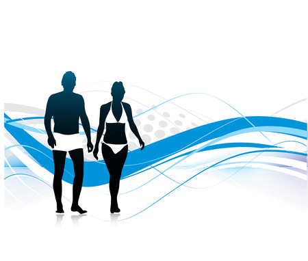 silhouette of young couple having fun summer holiday, vector illustration Vector