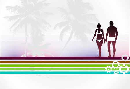 silhouette of young couple having fun summer holiday, vector illustration Stock Vector - 6507417