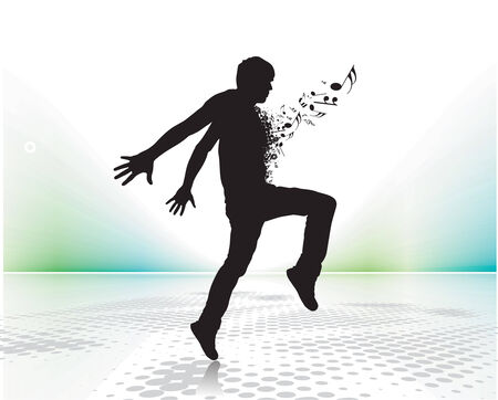 silhouetted a young man enjoy music with music note , vector illustration