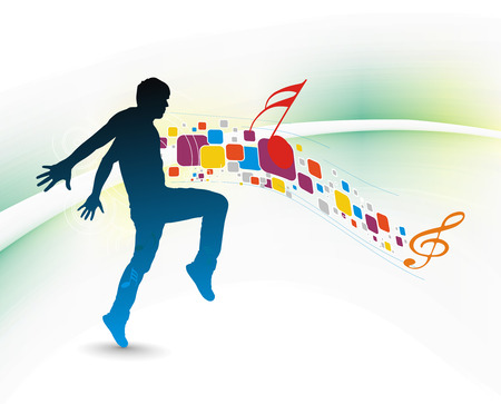 silhouetted a young man enjoy music with mosaic background , vector illustration Stock Vector - 6508486