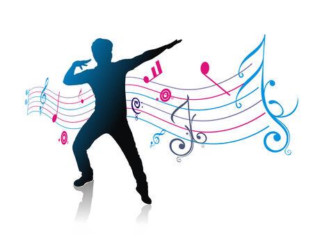 canta: un giovane uomo di stagliati godere musica con musica nota