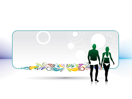 couple having fun: silhouette of young couple having fun summer holiday banner, vector illustration Illustration