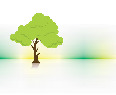 abstract vector green tree on eco background , vector illustration Vector