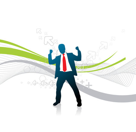 silhouetted ofyoung businessman, symbol for success, vector illustration. Stock Vector - 6508485