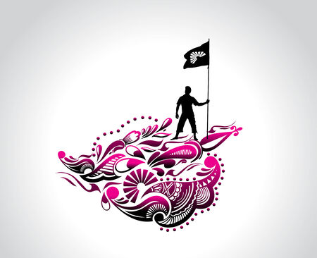 A young man holding a black flag with space of your text,  vector illustration Vector