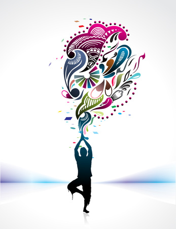 man power:  A young man doing yoga vector silhouette in creating a nature power, vector illustration