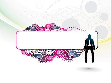 verdure: silhouette of businessman sitting in the floral banner background. Vector illustration. Illustration