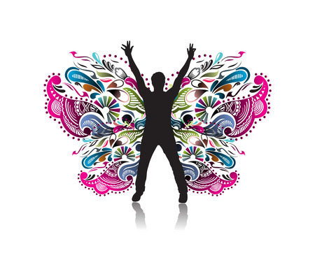 white man black woman: Abstract silhouette of men with butterflies design, vector illustration