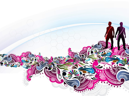 Abstract rainbow floral wave background with standing young student silhouetted, Vector illustration.