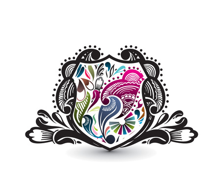 shield vector of ornate floral banners, vector illustration. Vector