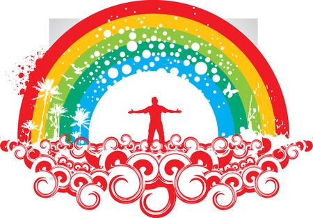 outstretched: silhouette of man raising his hands with grunge swirl rainbow background,