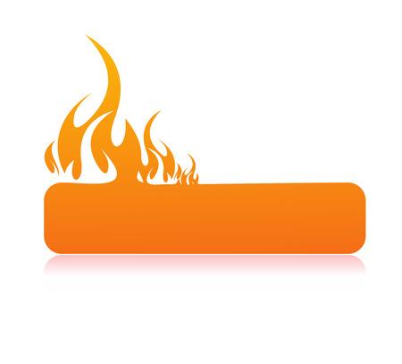 Brandende vlam banner met ruimte voor uw tekst