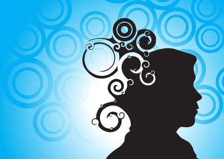 brain mysteries:  illustration of human head silhouette with swirl design, vector illustration Illustration