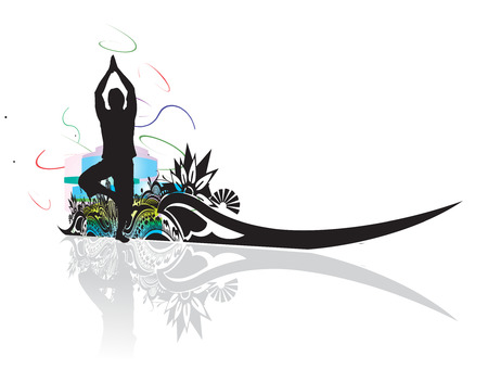 A young man doing yoga vector silhouette in floral wave line , vector illustration Vector