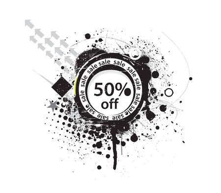 50% discount banner, shopping concept grunge vector Illustration Vector