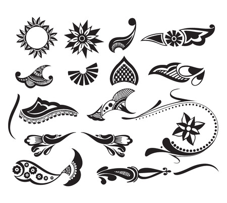 Tattoo set element of your design used, vector illustration Vector