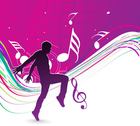 silhouetted a young man enjoy music with rainbow wave line, vector illustration Vector