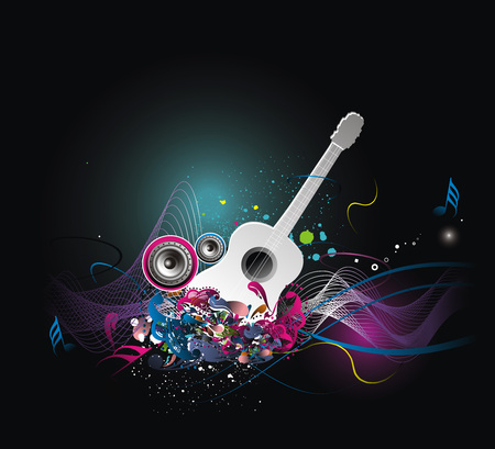 acustica: tema di musica con arcobaleno astratto colore sfondo, illustrazione vettoriale  Vettoriali