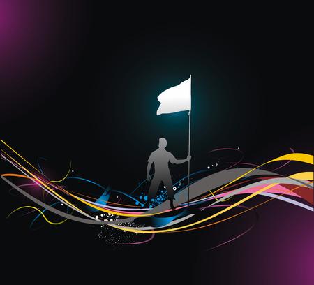 the end of a rainbow: Un hombre joven sosteniendo una bandera negra con el espacio de su texto, vector de ilustraci�n