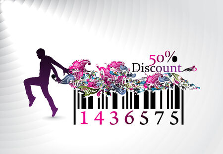 product background: 50% discount, man showing of discount in barcode element concept. Vector illustration.