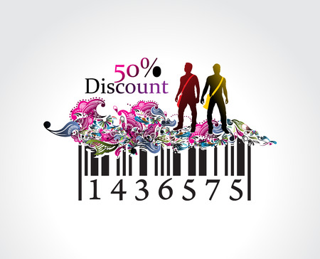 50% discount, man showing of discount in barcode element concept. Vector illustration. Stock Vector - 6608145